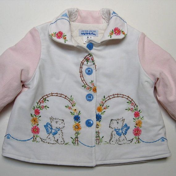 Size 2 Baby Girl Jacket Coat Vintage Embroidered by JackieSpicer