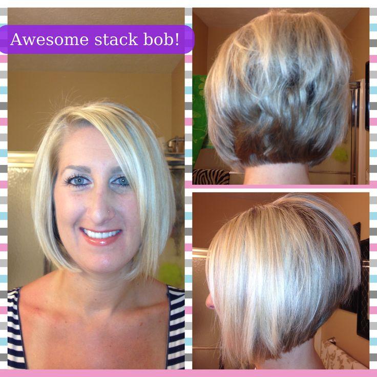 Blonde stacked angled bob!  Hello voluminous hair!!