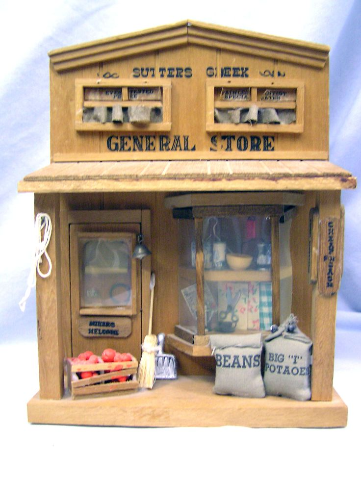 """Vtg Miniature Wood Western Store Front Village Shop Sutters Creek General Store 9"""" tall by MermeowTreasures on Etsy"""