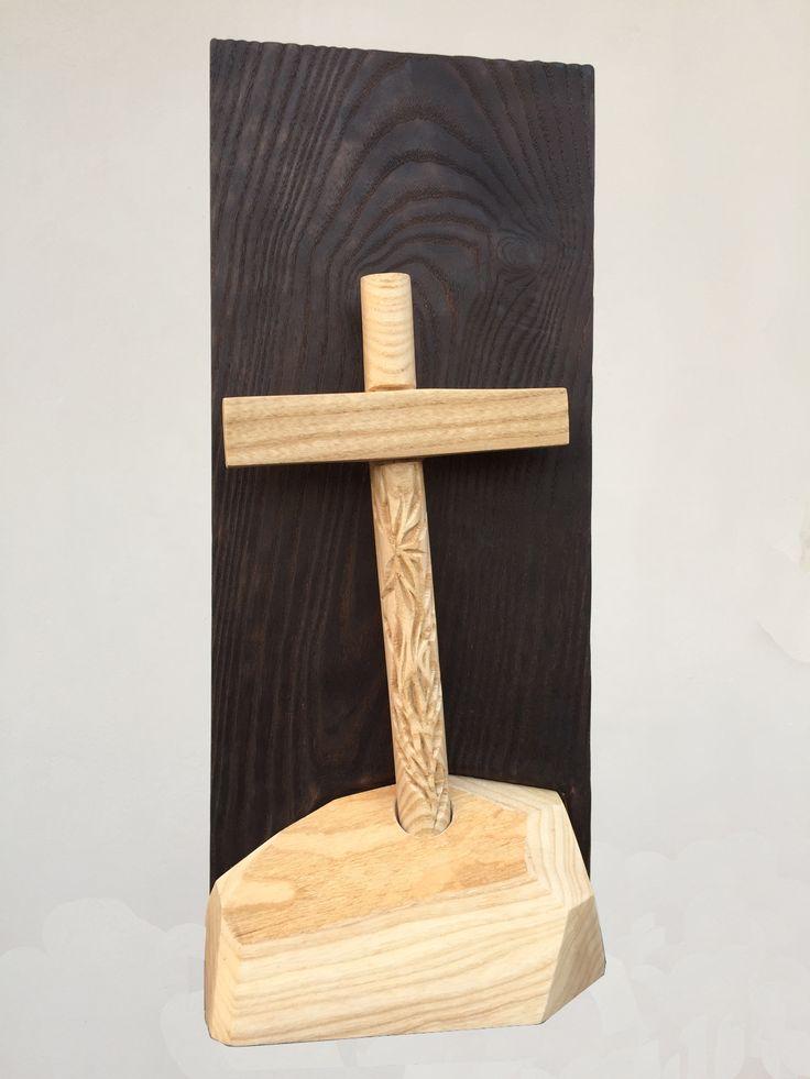 LA CROCE, LA CROIX, THE CROSS, DIE QUER in legno di frassino