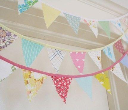 Banderines de tela guirnaldas para decorar ambientes tela - Guirnaldas de tela ...