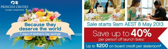 Princess Cruises 7 Days of Mother's Day Savings
