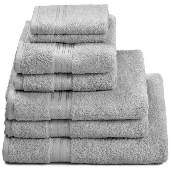 100 Egyptian Cotton 7 Piece Luxury Bath Towel Set Subtle Grey
