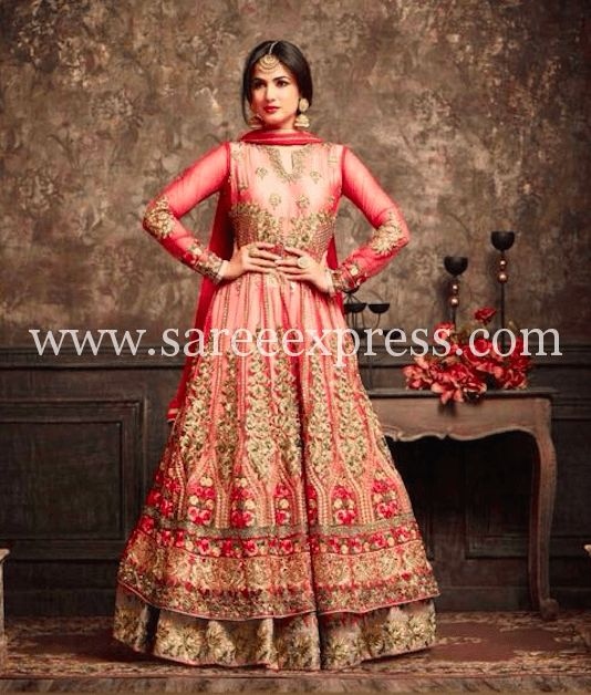 Red Net Abaya Style Embroidered Anarkali Suit