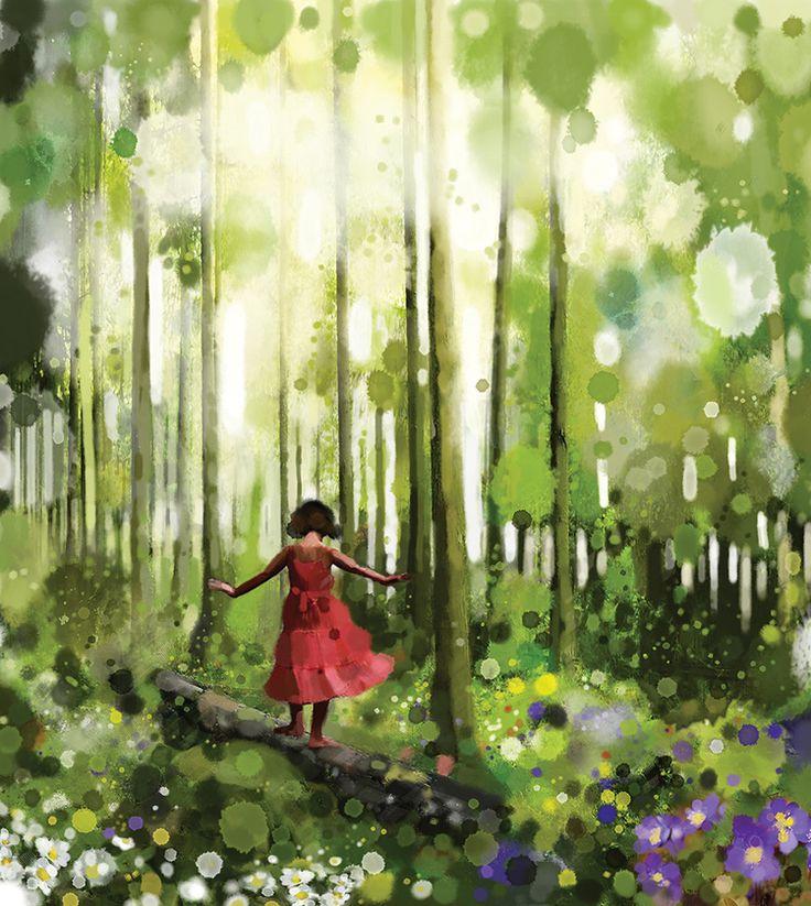 Det er rart med stillheten i skogen, den er aldri et fravær av lyd, aldri tom og skremmende, slik den kan bli det i lukkede rom. Du hører trærnes mjuke riksing i vinden, en korsnebb fløyter sin vemodige tone, og hakkespetten trommer lydt på en tørrhara, - men summen av det hele er likevel stillhet, en stor ro som kjærtegner trommehinnene og lar deg høre livet brenne i deg som suset av flammen på et lys. Denne levende stillheten er en stor og dyp verdi... stillhetens klare tone.