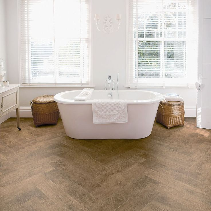 Bathroom Featuring Secura PUR Luxury Vinyl Sheet Flooring In Antique  Herringbone