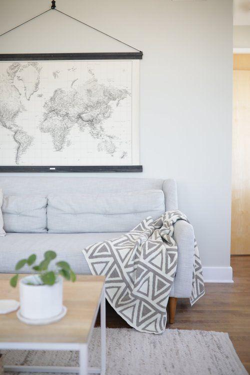 modern wool throw blanket   Living room decor pillows ...