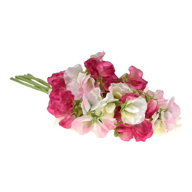 Sweet Pea Bouquet. A pretty spring look! Comes in a mixture of pastel mauves, purples and pastel pinks and hot pinks. Pretty and romantic.