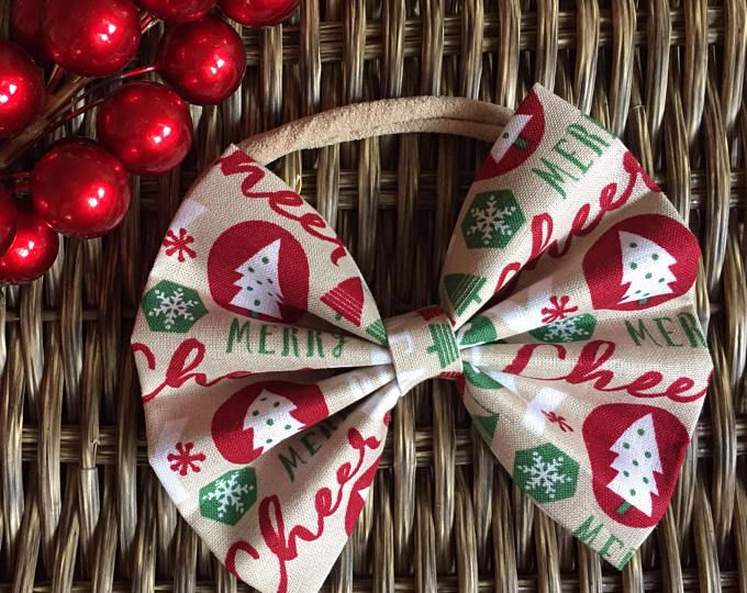 Baby Girl | Newborn | Toddler | Girls Christmas Tree Bow Nylon Headband | Hair Clip | Boy Bow Tie | Pig Tail Bows