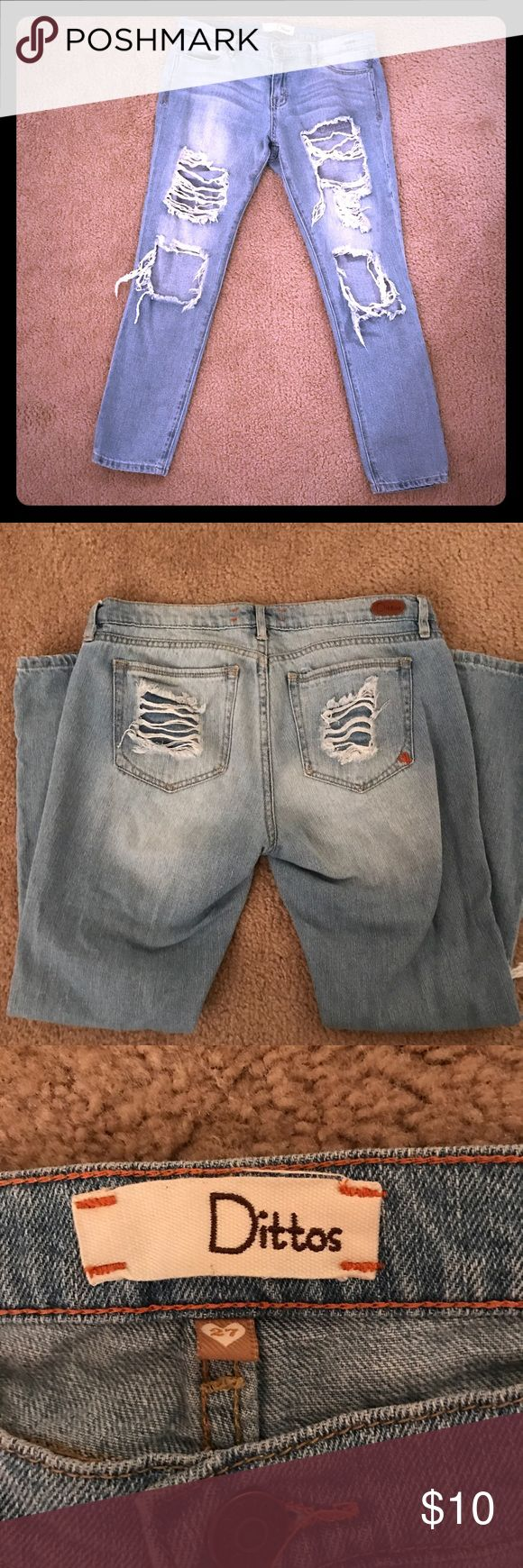 Distressed Light Wash Dittos Jeans Size 27 Distressed Dittos jeans. Size 27. Ankle cut. Light wash. Dittos Jeans Ankle & Cropped