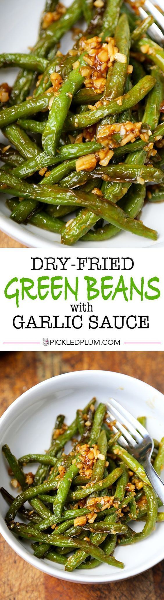 The easiest and tastiest Dry-Fried Green Beans with Garlic Sauce Recipe! Vegetarian and Vegan. Only 10 minutes to make from start to finish! | Pickled Plum
