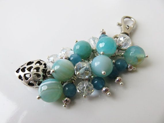 Check out this item in my Etsy shop https://www.etsy.com/uk/listing/272919952/aqua-bag-charm-gem-stone-bag-charm