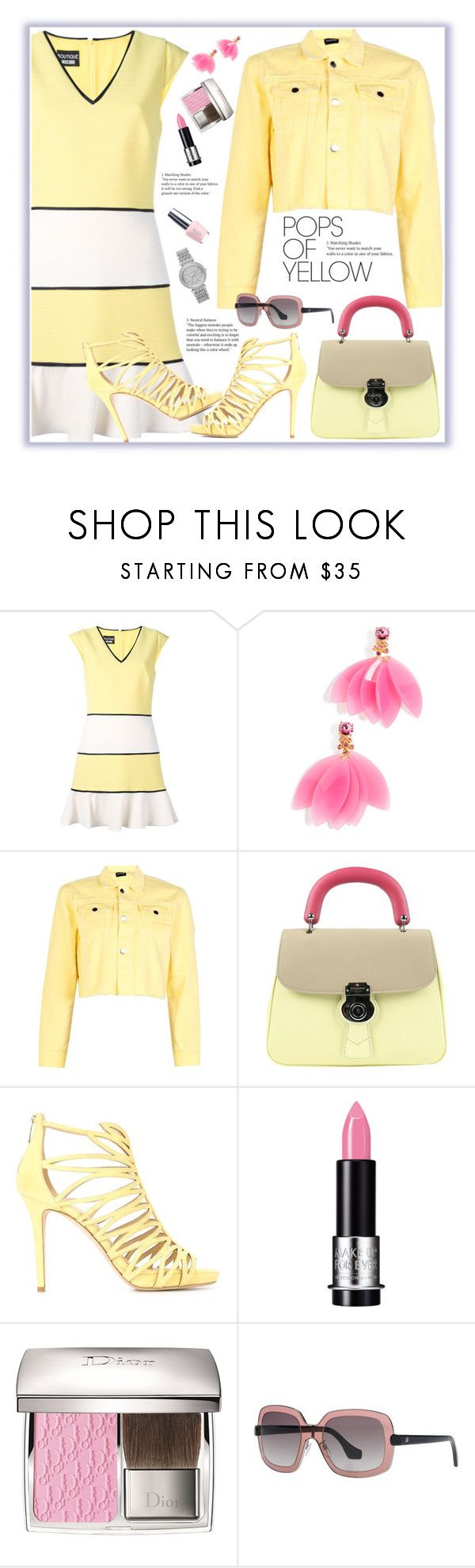 """""""Pops Of Yellow"""" by orrinn ❤ liked on Polyvore featuring Boutique Moschino, Oscar de la Renta, Burberry, Jimmy Choo, MAKE UP FOR EVER, OPI, Balenciaga, Michael Kors, PopsOfYellow and NYFWYellow"""