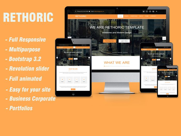Rethoric– Multipurpose Responsive HTML5 Template is a responsive and powerful website theme for business and Creative project.