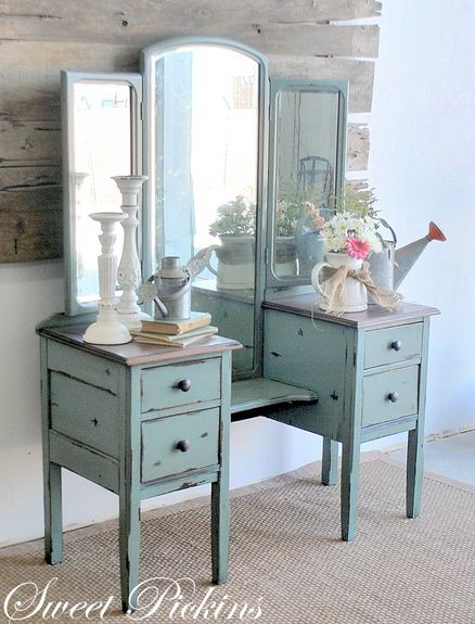 I absolutely LOVE using antique vanities as entry tables. Convenient drawers, mirrors to make the space look larger, and an easy place to toss your keys when you walk in the door.