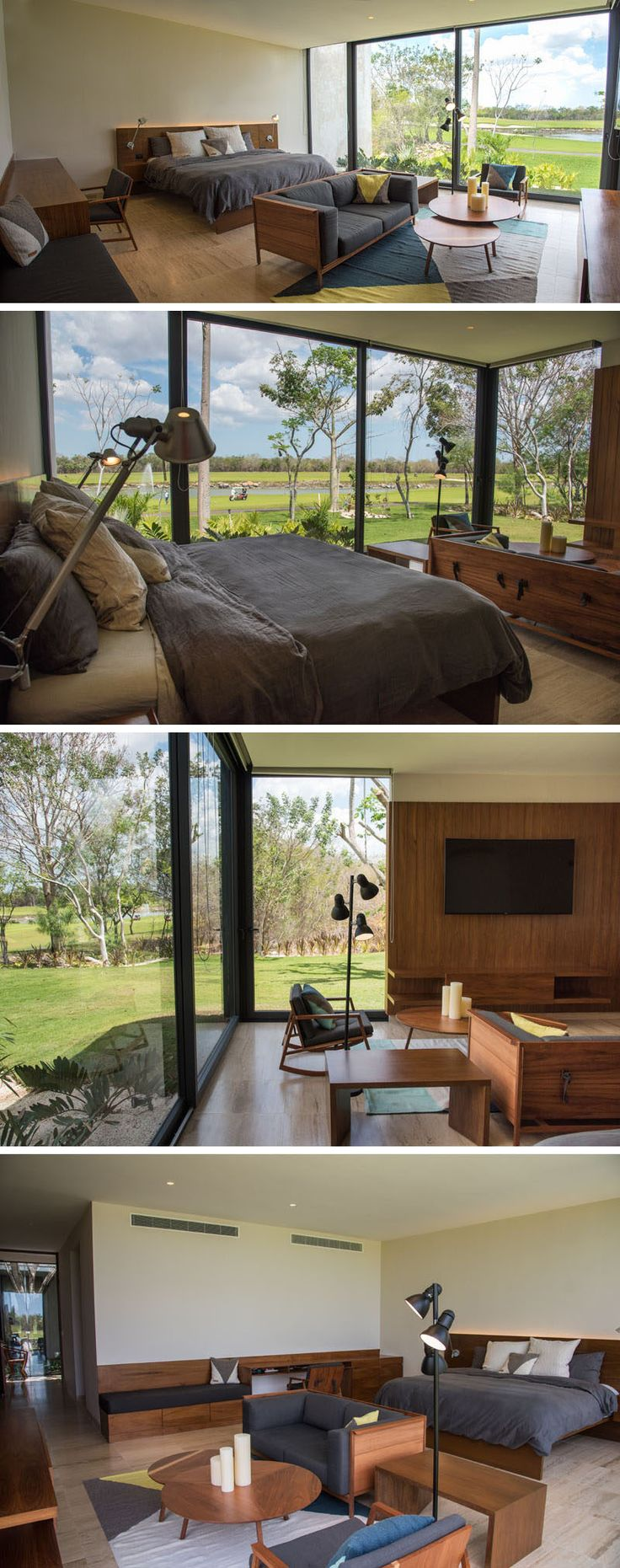 This modern master bedroom, with a lounge and built-in desk, looks out onto the backyard through floor-to-ceiling windows.