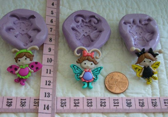 Set of 3 Bug Girls Food Safe Silicone Mold for Fondant Gum Paste Pastillage Chocolate Candy Sugarcraft Resin Clay Plaster Wax DIY