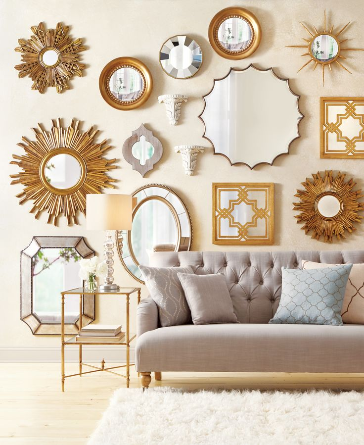 Mirrors make a wall stand out so well. Love this gallery wall design.  HomeDecorators