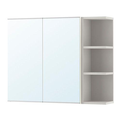 IKEA - LILLÅNGEN, Armario espejo&2 puertas/1 balda, blanco/gris, 79x21x64 cm, , El espejo tiene una película protectora en la parte trasera que reduce el riesgo de cortarse en caso de que se rompa.Esta estantería con baldas abiertas es ideal para poner frascos de perfume o cualquier otra cosa que uses con frecuencia.Armario estrecho, ideal para espacios pequeños.