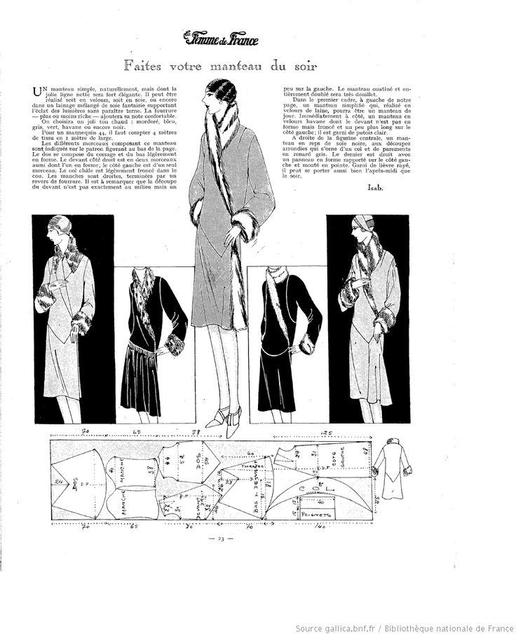 La Femme de France 1927  Looks like a nice coat pattern; will have to make a pattern