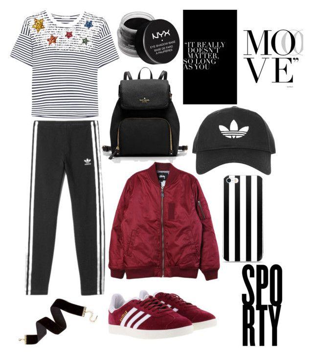 """sport"" by veronika-grabanova on Polyvore featuring Miu Miu, adidas, Stussy, Topshop and NYX"
