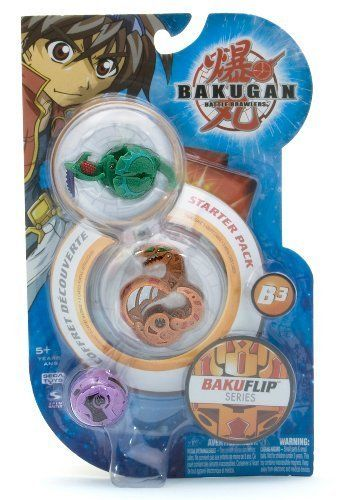 """BakuFlip Bakugan Battle Brawlers Series Starter Pack - """" NOT Randomly Picked"""", Sold As Shown In The Picture! (CMX6) by Spin Master. $21.50. For age 5 and up. Warning! Risk of serious digestive injuries in the event that magnets are swallowed!. """"NOT"""" randomly picked, you are getting what is shown in the picture.. Bakugan Battle Brawlers BakuFlip Series Starter Pack. Starter pack includes: 3 Bakugan, 3 ability cards, and 3 metal gate cards. New Bakugan, new card..."""