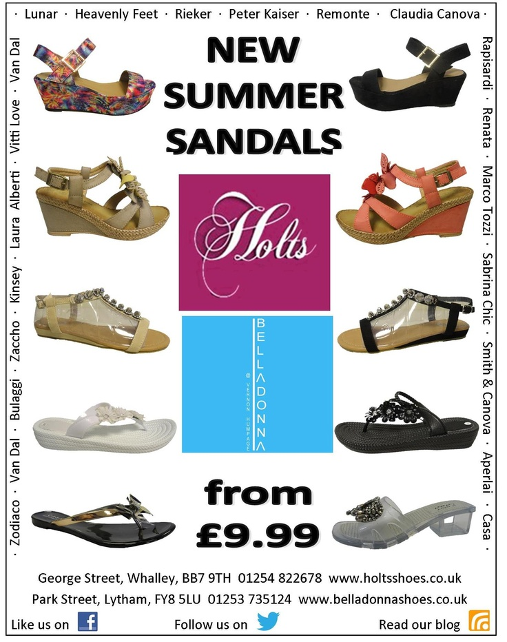 Our latest arrivals - summer sandals from £9.99. Buy now while stocks last at http://www.holtsshoes.co.uk or in store