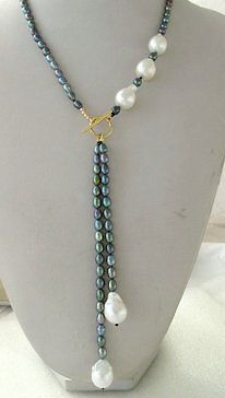 $wholesale_jewelry_wig$ free shipping Black Peacock Rice Freshwater&Unusual White Baroque Keshi Keishi Pearl Necklace