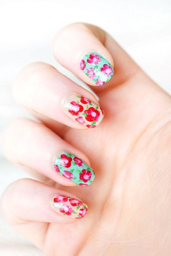 floral nail art tutorial