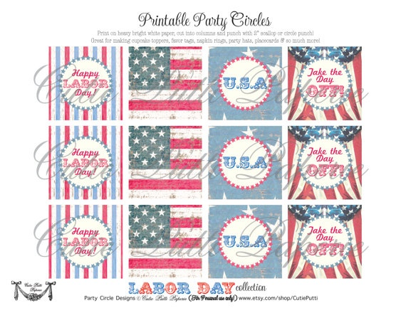Free Labor Day printable...cupcake toppers