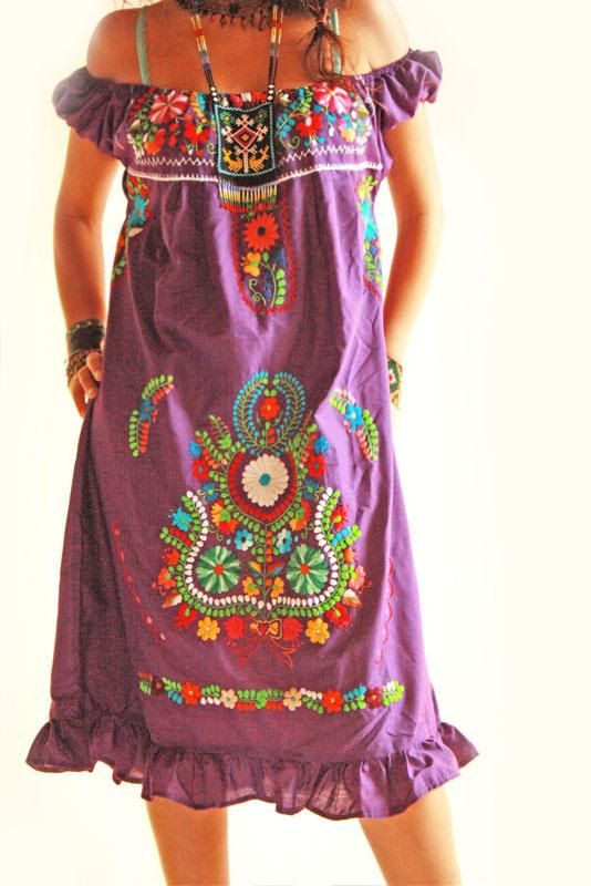 Purple Love boho Mexican embroidered dress.