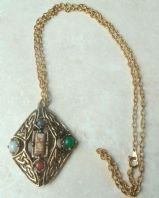 Vintage Celtic Style,  Mock Agate,  Diamond Shaped Pendant and Necklace.