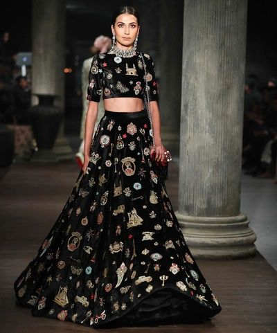 Trousseau Essentials - Black Velvet Lehenga with Motif Embroideries   WedMeGood  #sabyasachi #indianbride #indianwedding #lehenga #velvet #black #trousseau #essentials