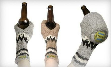 Scandinavian-designed gray & brown mitten-esque beverage holders are hand-made from cozy Merino sheep wool