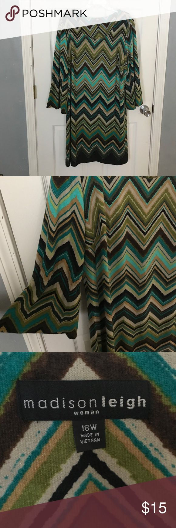 Green Chevron Dress Beautiful green, blue, and brown Chevron striped dress that has only been worn once. Thicker, almost sweater material. Very nice for fall! Super comfy. Madison Leigh Woman Dresses