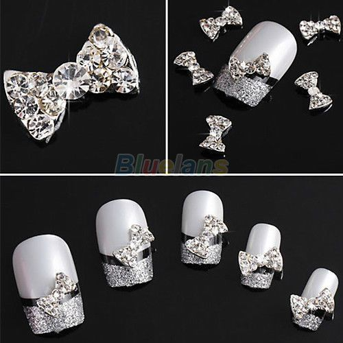 Free shipping Lot 10x 3D Clear Alloy Rhinestone Bow Tie Nail Art Slices Diy Decorations