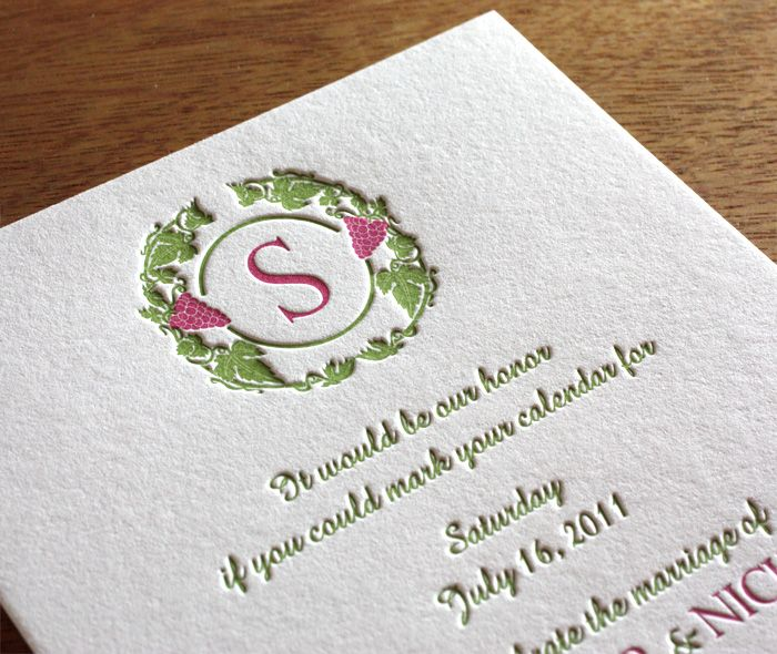Zinfandel Letterpress Wedding Invitation By Invitations By Ajalon