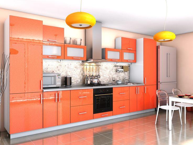 Кухня Гламур оранж металлик (4,2 м) придется по вкусу поклонникам стиля хай-тек, который олицетворяет эпоху высоких технологий и делает главный упор на практичность и функциональность.