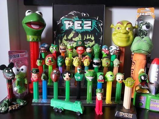 Pez - Kermit, Yoda, Buttercup, Shrek & Fiona, Rat Fink, Kero Kero Keroppi, H.R. Pufnstuf, Lucky the Lucky Charms Leprechaun, Mr. Ugly, Marvin the Martian, Louie, Sgt. Snorkle, The Incredible Hulk, the Geico Gekko, the Notre Dame Football, Green Lantern, and all their green buddies.