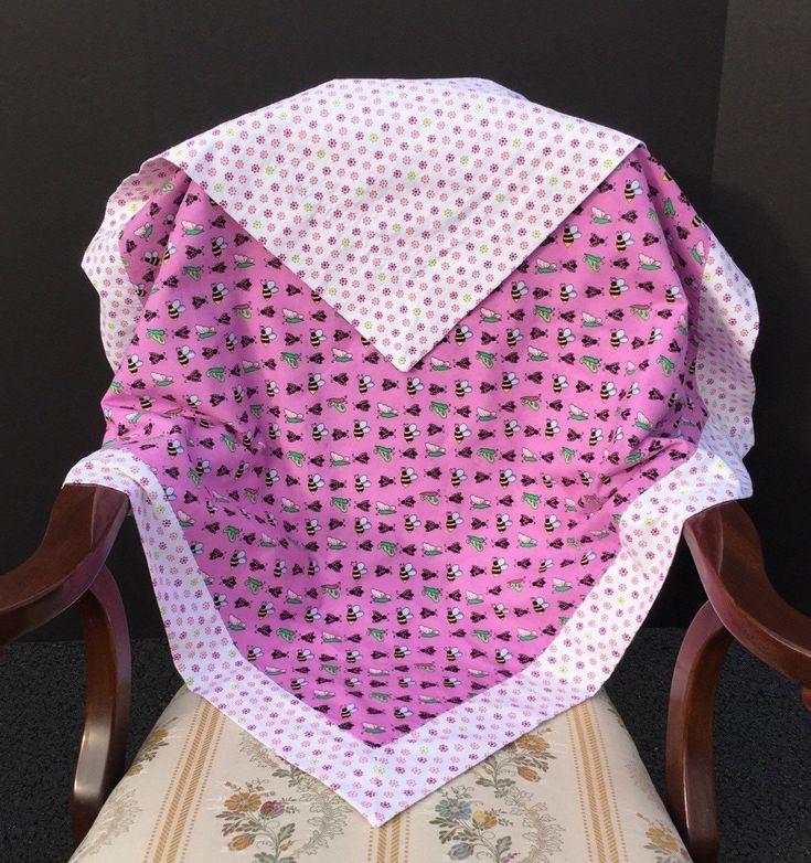 Self Binding Baby Blanket Baby Girl Blanket Reversible