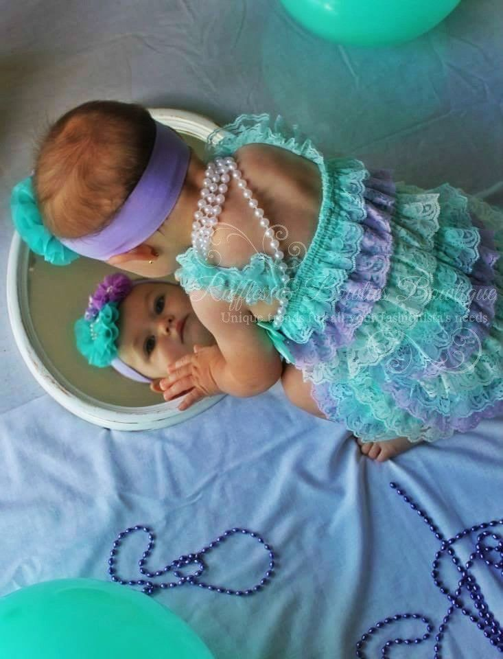 You will love this soft pastel romper on your princess. This adorable little baby petti lace romper is a perfect addition for photos and birthdays or perfect for a first photo. This vintage inspired p