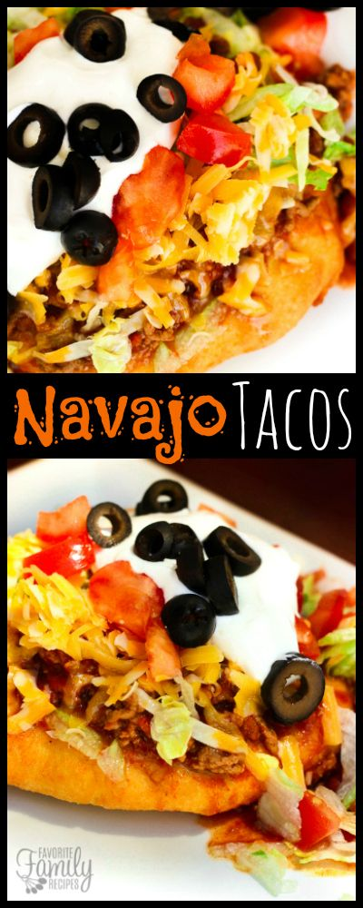 We had Navajo Tacos with Homemade Fry Bread ALL THE TIME growing up. They are loaded with chili, cheese, lettuce, tomatoes, olives, and sour cream! via @favfamilyrecipz