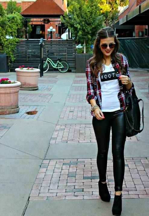 Graphic t with open plaid button down, leather leggings