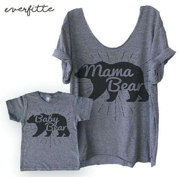Mama Bear Raw Edge Swanky Tee Funny Graphic Tee Yoga by everfitte