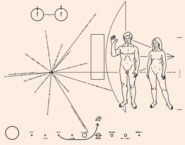 "Pioneer plaque.svg. ""The Pioneer F spacecraft, destined to be the first human made object to escape from the solar system into interstellar space, carries this pictorial plaque. It is designed to show scientifically educated inhabitants of some other star system, who might intercept it millions of years from now, when Pioneer was launched, from where, and by what kind of beings."