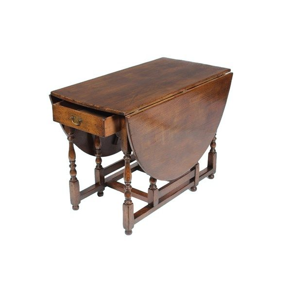 Vintique 1920s English Oak Jacobean Style Gate Leg Table Featuring Drop Leaf Sides Turned Spool Legs Single Drawer A Antique Table Drop Leaf Table Jacobean
