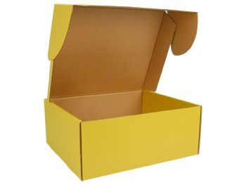 E-Commerce Corrugated Mailer  Yellow/Kraft - 18 x 15 x 7.5in  Send out in style!