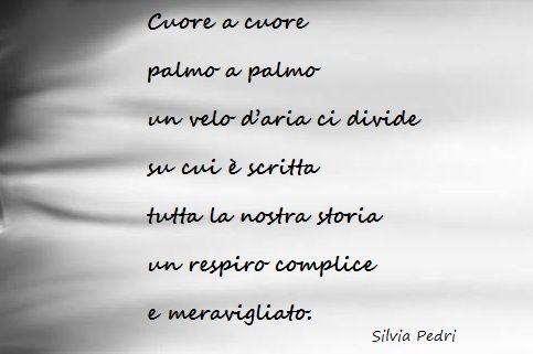 Cuore a cuore palmo a palmo un velo d'aria ci divide su cui è scritta tutta la nostra storia un respiro complice e meravigliato.  Scopri di più su di me e sulle mie pubblicazioni sul mio sito ufficiale. #poesie #poesiedamore #amore #love