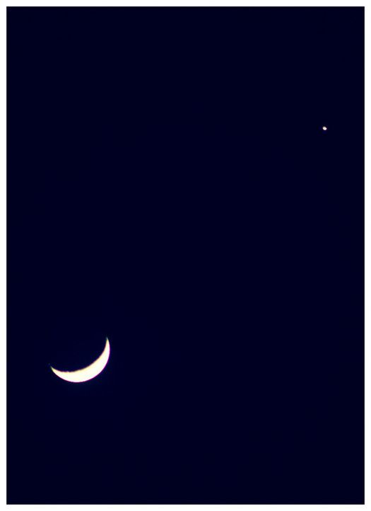 una bella congiunzione tra la Luna ed il pianeta Giove