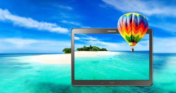 De Samsung Galaxy Tab S is de tablet met een subliem scherm: Amoled zorgt voor een ongezien contrast en helderheid. De tablet blijft licht en je werkt in verschillende schermen tegelijkertijd dankzij het Multi Window. Krijg toegang tot je eigen profiel door de vingerafdruksensor en kopieer en plak alle foto's, video's en andere bestanden van je smartphone naar je tablet en omgekeerd. De batterij van deze lichte Tab S en zijn uitzonderlijk scherm gaat tot 10 uur mee.